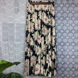 Vintage Stretchy Waist Sunflower Print Maxi Skirt